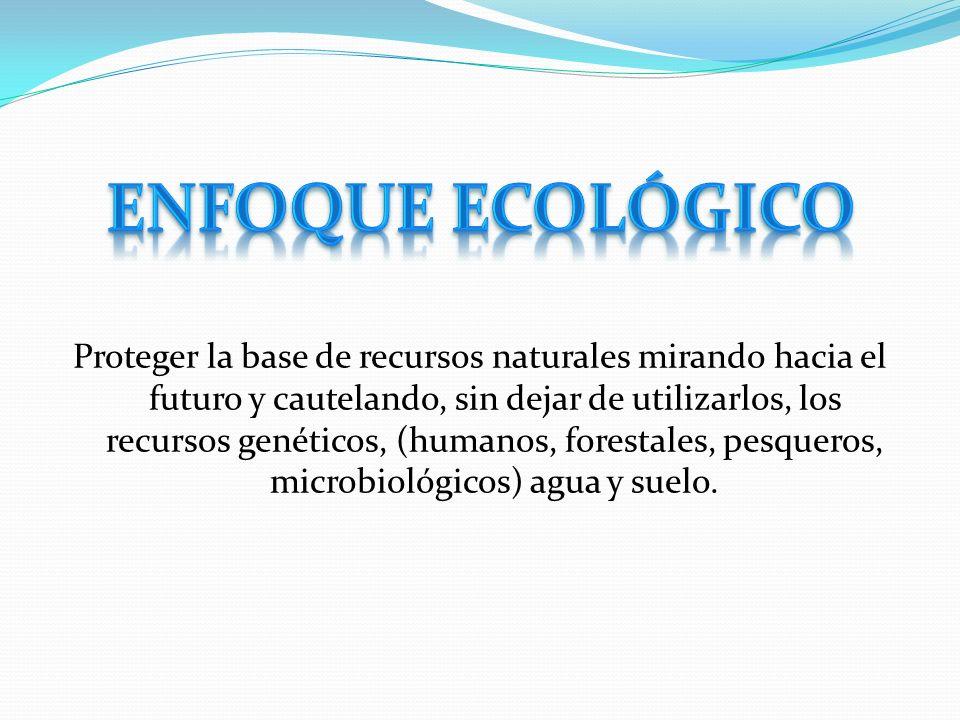 Proteger la base de recursos naturales mirando hacia el futuro y cautelando, sin dejar de utilizarlos, los recursos genéticos, (humanos, forestales, p