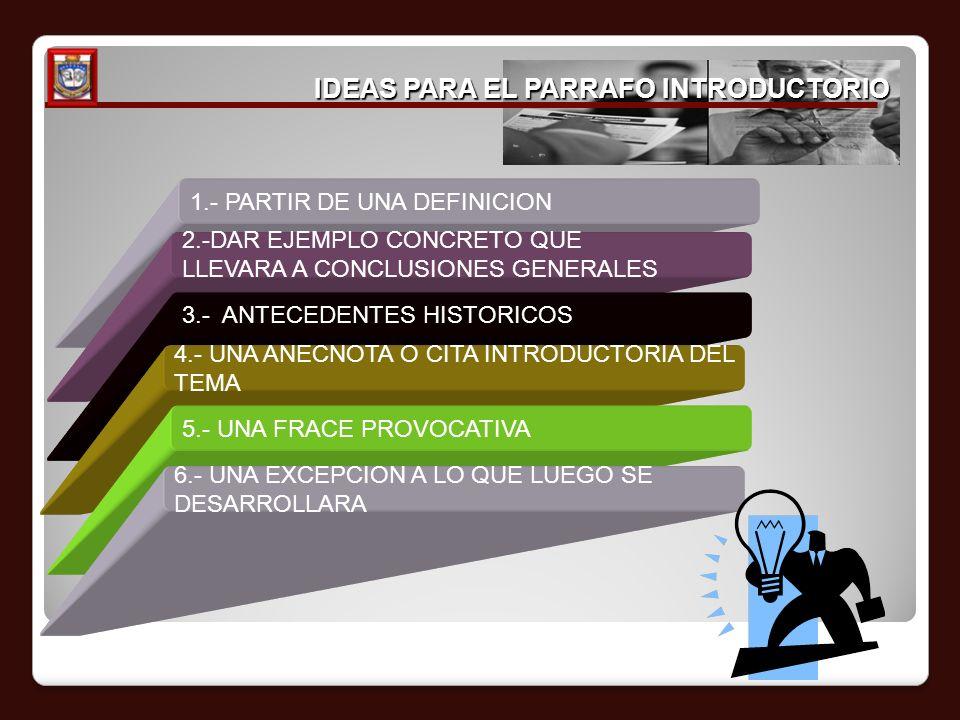 IDEAS PARA EL PARRAFO INTRODUCTORIO 1.- PARTIR DE UNA DEFINICION 2.-DAR EJEMPLO CONCRETO QUE LLEVARA A CONCLUSIONES GENERALES 3.- ANTECEDENTES HISTORI