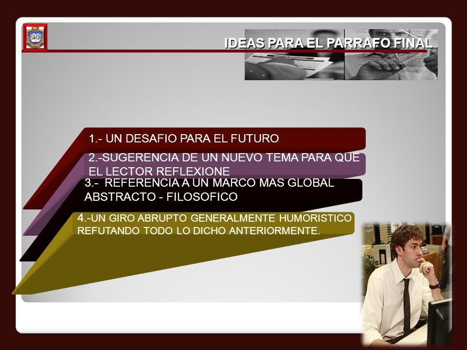 IDEAS PARA EL PARRAFO FINAL 1.- UN DESAFIO PARA EL FUTURO 2.-SUGERENCIA DE UN NUEVO TEMA PARA QUE EL LECTOR REFLEXIONE 3.- REFERENCIA A UN MARCO MAS G