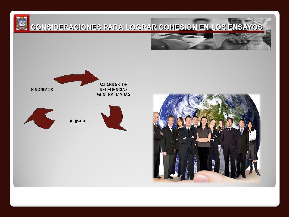 CONSIDERACIONES PARA LOGRAR COHESION EN LOS ENSAYOS CONSIDERACIONES PARA LOGRAR COHESION EN LOS ENSAYOS PALABRAS DE REFERENCIAS GENERALIZADAS ELIPSIS