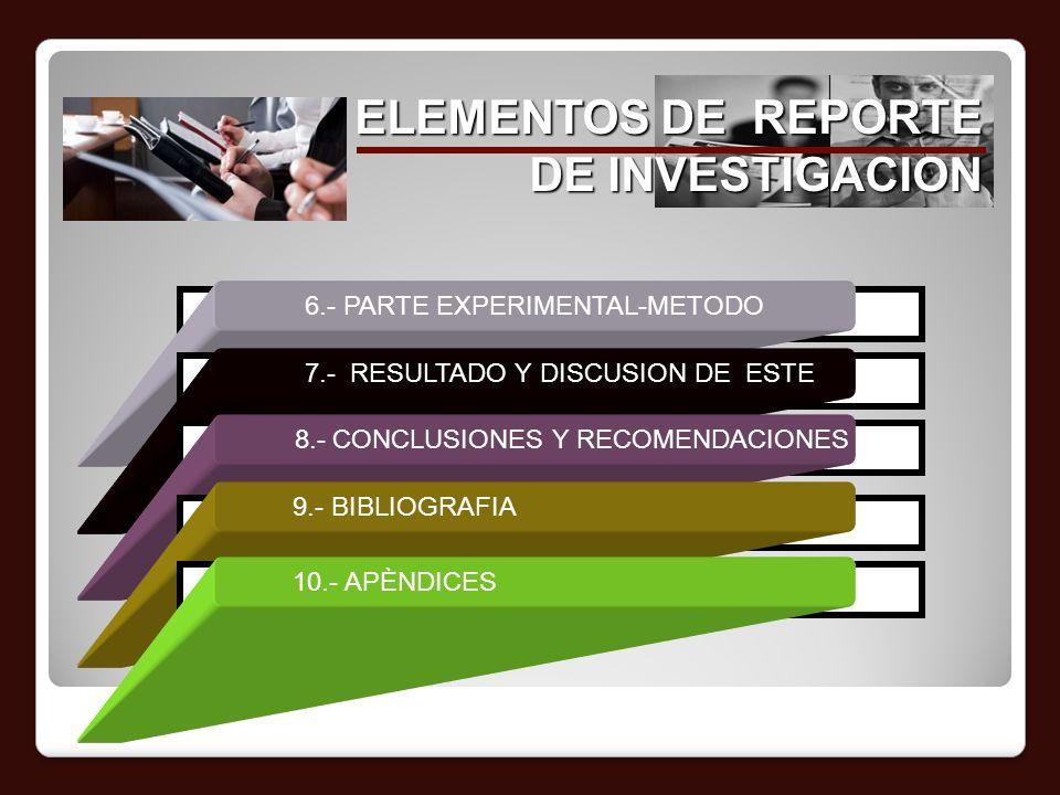 ELEMENTOS DE REPORTE DE INVESTIGACION 6.- PARTE EXPERIMENTAL-METODO 7.- RESULTADO Y DISCUSION DE ESTE 8.- CONCLUSIONES Y RECOMENDACIONES 9.- BIBLIOGRA