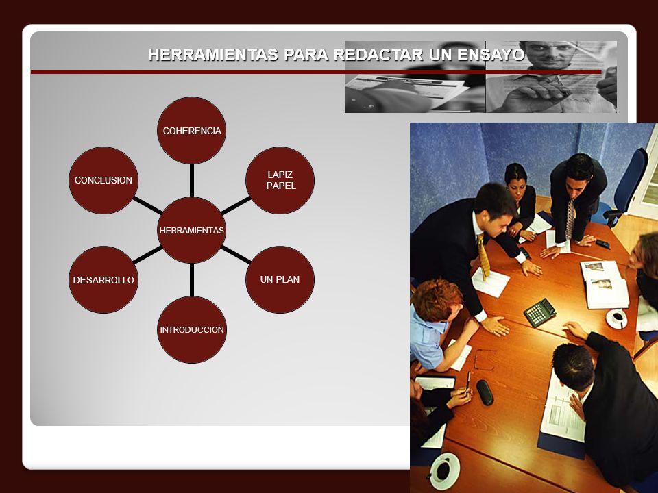 HERRAMIENTAS PARA REDACTAR UN ENSAYO HERRAMIENTAS COHERENCIA LAPIZ PAPEL UN PLANINTRODUCCIONDESARROLLOCONCLUSION