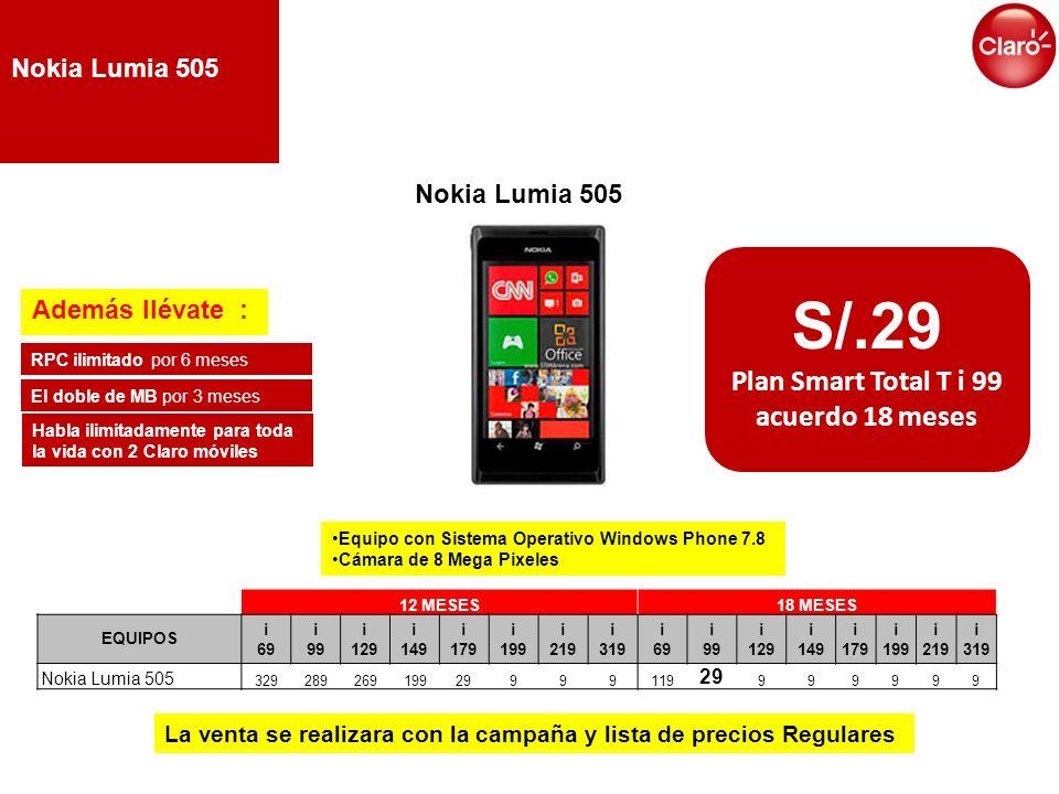S/.29 Plan Smart Total T i 99 acuerdo 18 meses 12 MESES18 MESES EQUIPOS i 69 i 99 i 129 i 149 i 179 i 199 i 219 i 319 i 69 i 99 i 129 i 149 i 179 i 19