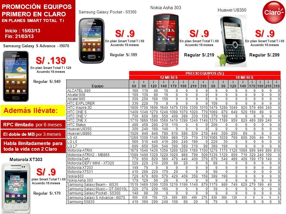 PROMOCIÓN EQUIPOS PRIMERO EN CLARO EN PLANES SMART TOTAL T i Regular S/.299 Regular S/.219 Samsung Galaxy Pocket - S5300 Además llévate: RPC ilimitado