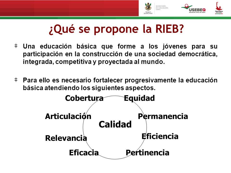 ¿Qué se propone la RIEB? Una educación básica que forme a los jóvenes para su participación en la construcción de una sociedad democrática, integrada,