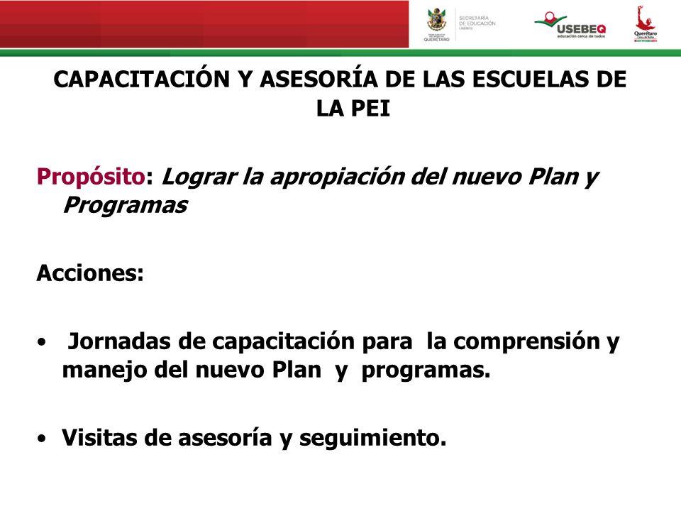 CAPACITACIÓN Y ASESORÍA DE LAS ESCUELAS DE LA PEI Propósito: Lograr la apropiación del nuevo Plan y Programas Acciones: Jornadas de capacitación para