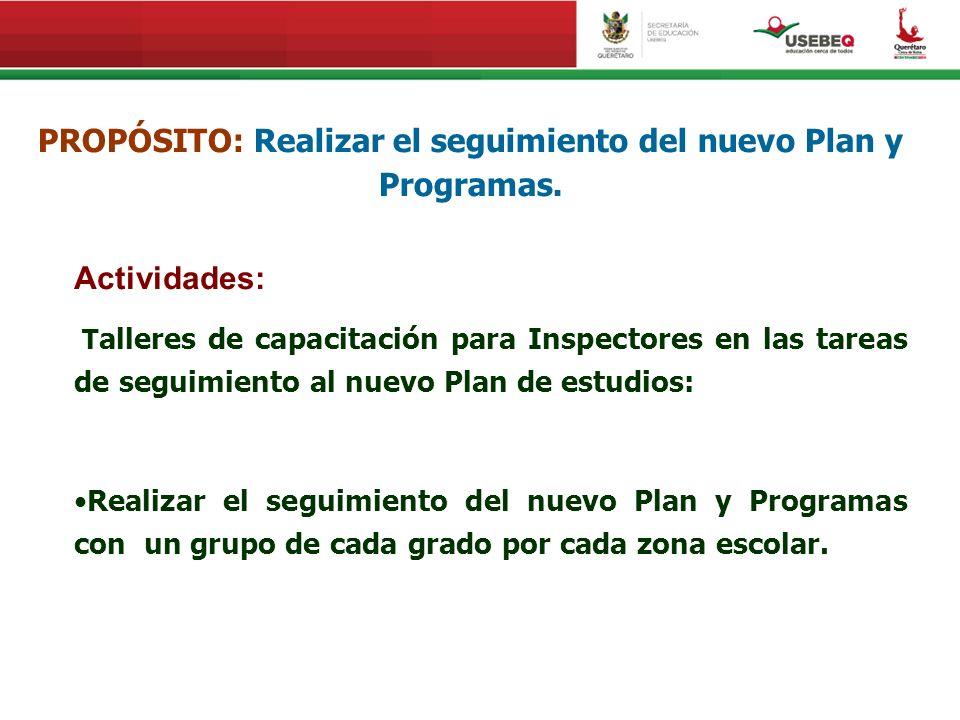 PROPÓSITO: Realizar el seguimiento del nuevo Plan y Programas. Actividades: T alleres de capacitación para Inspectores en las tareas de seguimiento al