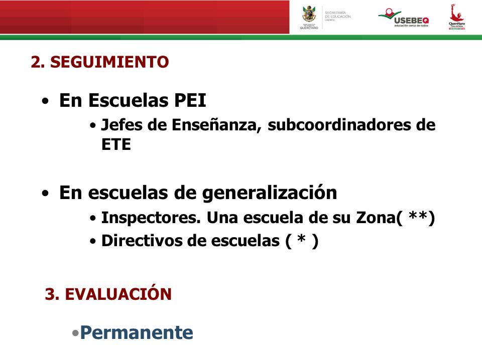 2. SEGUIMIENTO En Escuelas PEI Jefes de Enseñanza, subcoordinadores de ETE En escuelas de generalización Inspectores. Una escuela de su Zona( **) Dire