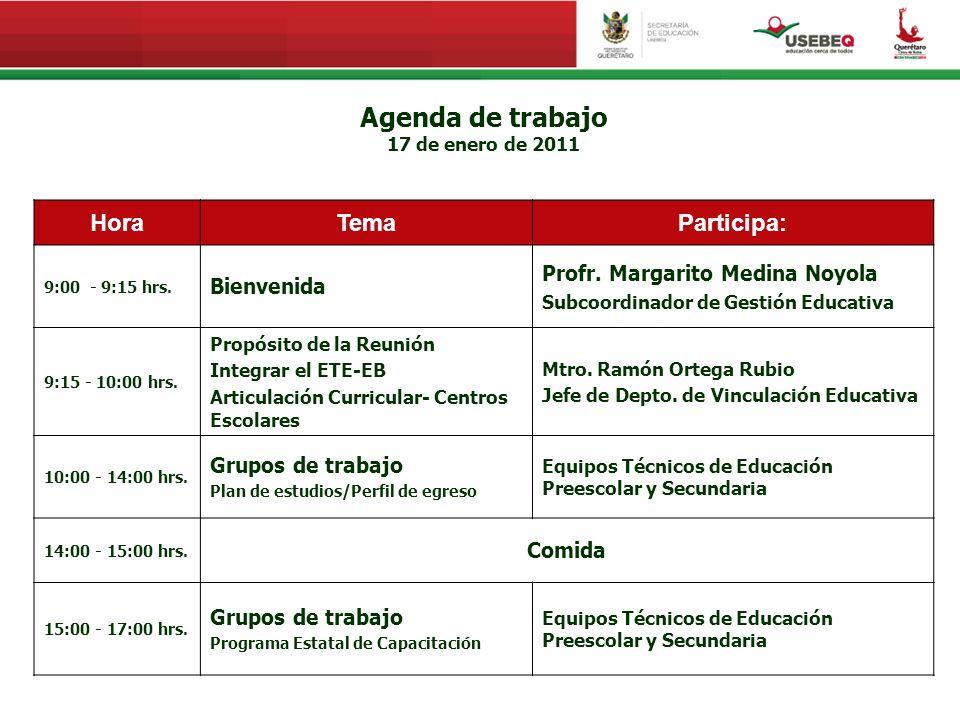 Agenda de trabajo 17 de enero de 2011 HoraTemaParticipa: 9:00 - 9:15 hrs. Bienvenida Profr. Margarito Medina Noyola Subcoordinador de Gestión Educativ