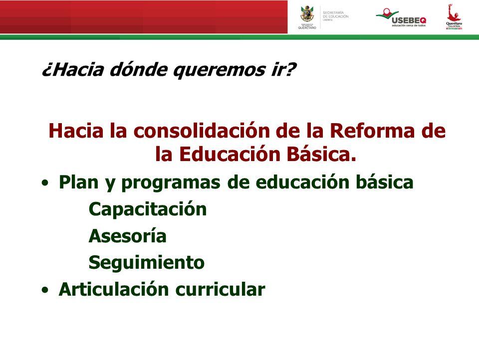 ¿Hacia dónde queremos ir? Hacia la consolidación de la Reforma de la Educación Básica. Plan y programas de educación básica Capacitación Asesoría Segu