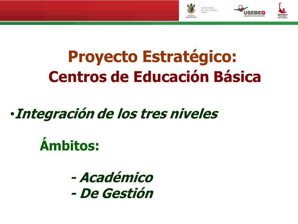Proyecto Estratégico: Centros de Educación Básica Integración de los tres niveles Ámbitos: - Académico - De Gestión