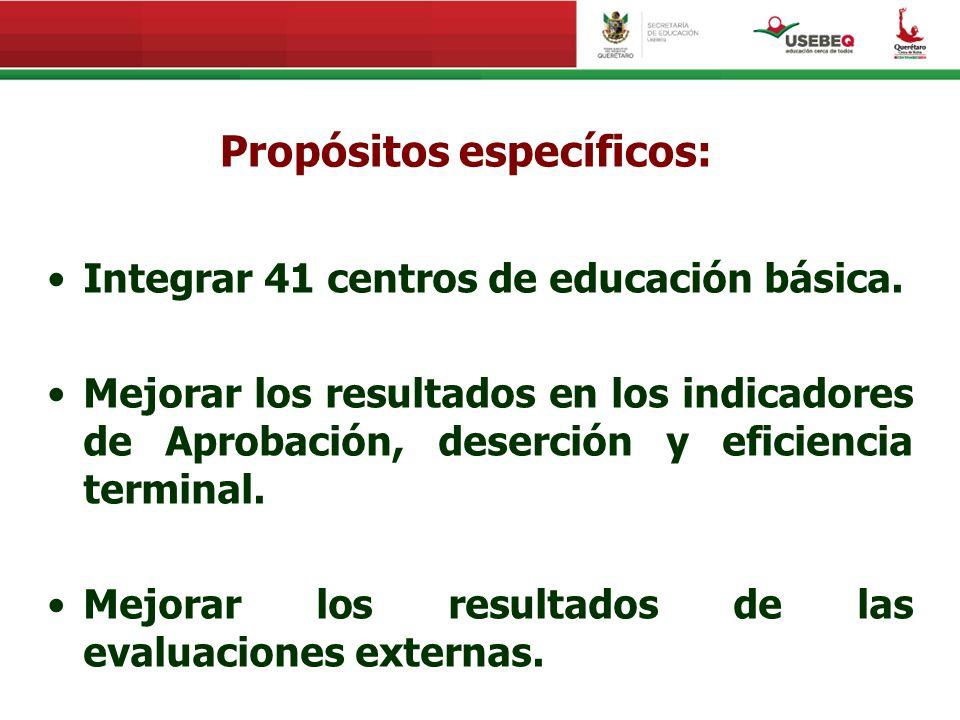 Propósitos específicos: Integrar 41 centros de educación básica. Mejorar los resultados en los indicadores de Aprobación, deserción y eficiencia termi