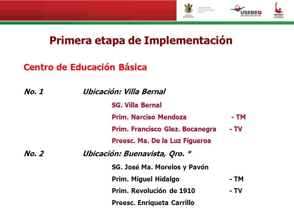 Primera etapa de Implementación Centro de Educación Básica No. 1Ubicación: Villa Bernal SG. Villa Bernal Prim. Narciso Mendoza - TM Prim. Francisco Gl