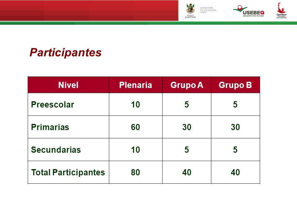 5 NivelPlenariaGrupo AGrupo B Preescolar1055 Primarias6030 Secundarias1055 Total Participantes8040 Participantes