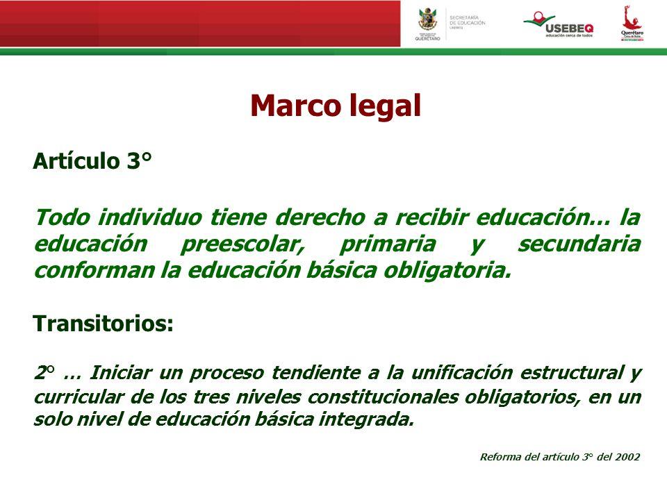 Marco legal Artículo 3° Todo individuo tiene derecho a recibir educación… la educación preescolar, primaria y secundaria conforman la educación básica