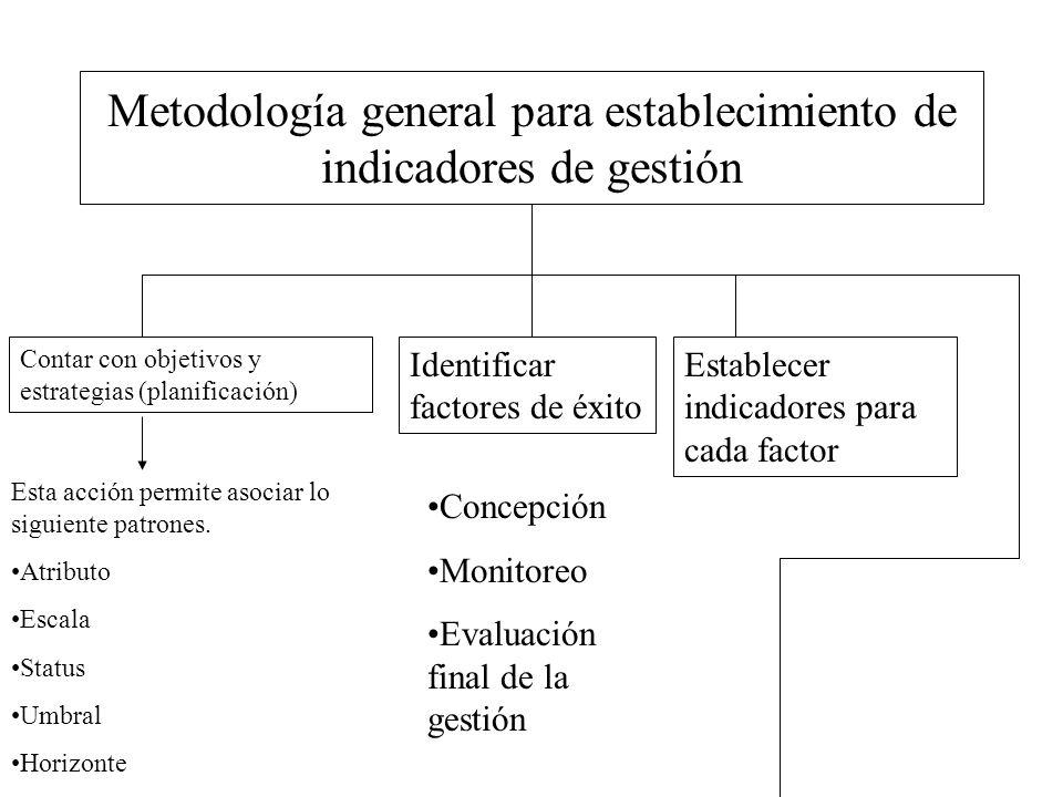 Metodología general para establecimiento de indicadores de gestión Contar con objetivos y estrategias (planificación) Identificar factores de éxito Es