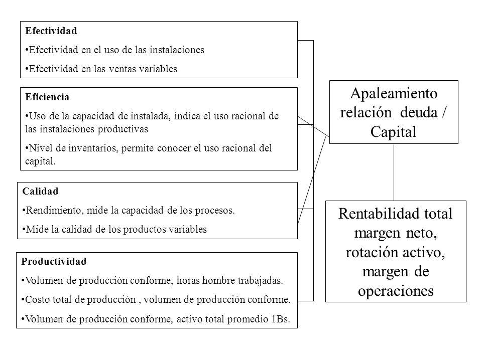 Efectividad Efectividad en el uso de las instalaciones Efectividad en las ventas variables Eficiencia Uso de la capacidad de instalada, indica el uso