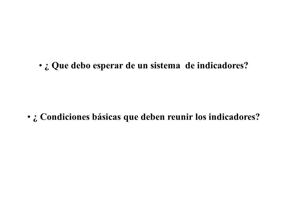 ¿ Que debo esperar de un sistema de indicadores? ¿ Condiciones básicas que deben reunir los indicadores?