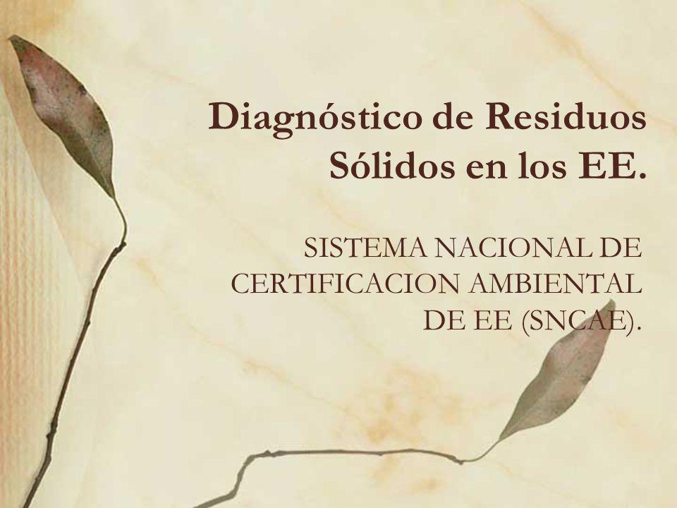 Diagnóstico de Residuos Sólidos en los EE. SISTEMA NACIONAL DE CERTIFICACION AMBIENTAL DE EE (SNCAE).