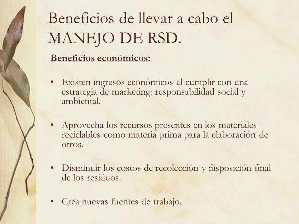 Beneficios de llevar a cabo el MANEJO DE RSD. Beneficios económicos: Existen ingresos económicos al cumplir con una estrategia de marketing: responsab