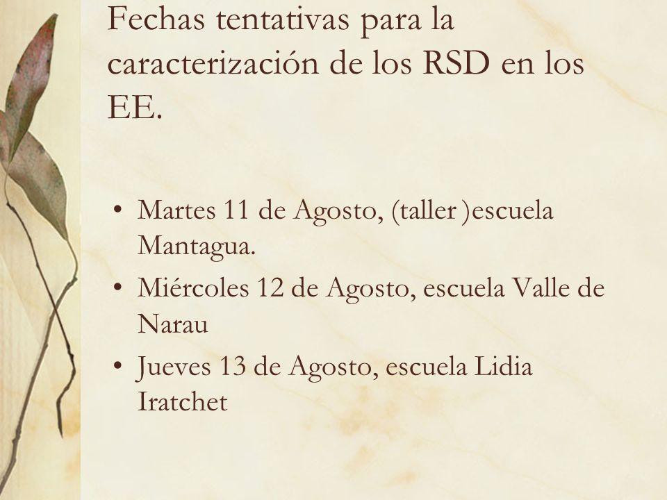 Fechas tentativas para la caracterización de los RSD en los EE. Martes 11 de Agosto, (taller )escuela Mantagua. Miércoles 12 de Agosto, escuela Valle
