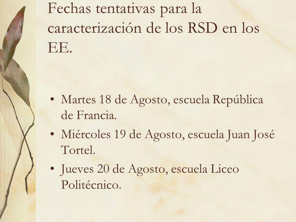 Fechas tentativas para la caracterización de los RSD en los EE. Martes 18 de Agosto, escuela República de Francia. Miércoles 19 de Agosto, escuela Jua