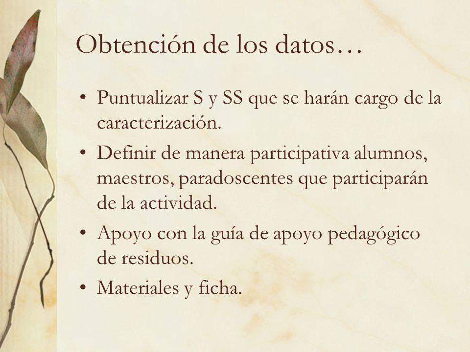 Obtención de los datos… Puntualizar S y SS que se harán cargo de la caracterización. Definir de manera participativa alumnos, maestros, paradoscentes