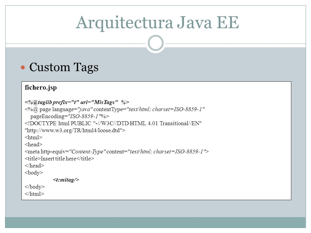 Arquitectura Java EE Custom Tags fichero.jsp <%@ page language=