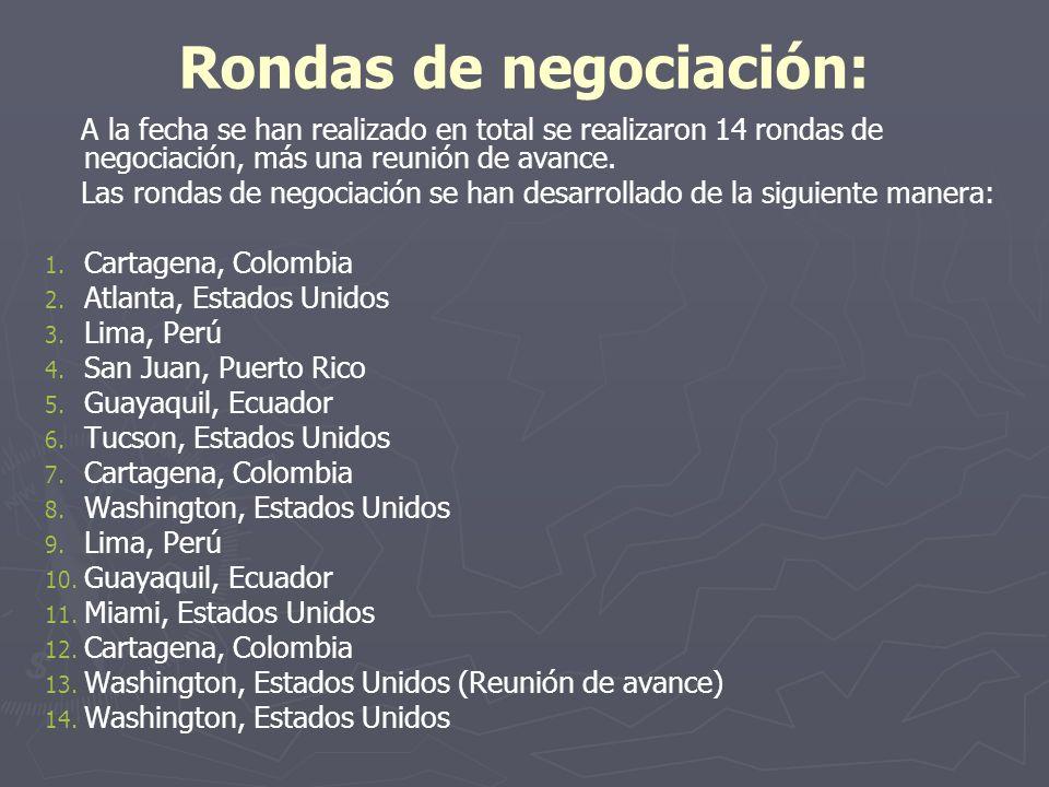 Rondas de negociación: A la fecha se han realizado en total se realizaron 14 rondas de negociación, más una reunión de avance. Las rondas de negociaci