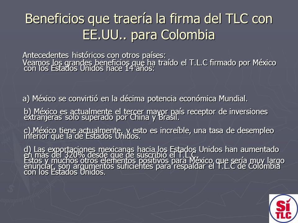 Beneficios que traería la firma del TLC con EE.UU.. para Colombia Antecedentes históricos con otros países: Antecedentes históricos con otros países: