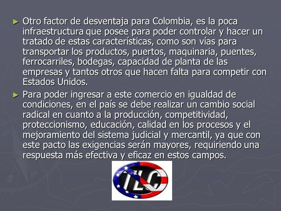 Otro factor de desventaja para Colombia, es la poca infraestructura que posee para poder controlar y hacer un tratado de estas características, como s