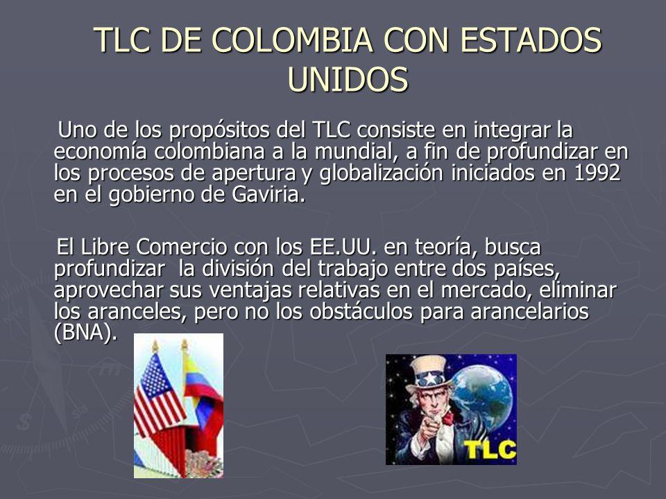 TLC DE COLOMBIA CON ESTADOS UNIDOS Uno de los propósitos del TLC consiste en integrar la economía colombiana a la mundial, a fin de profundizar en los