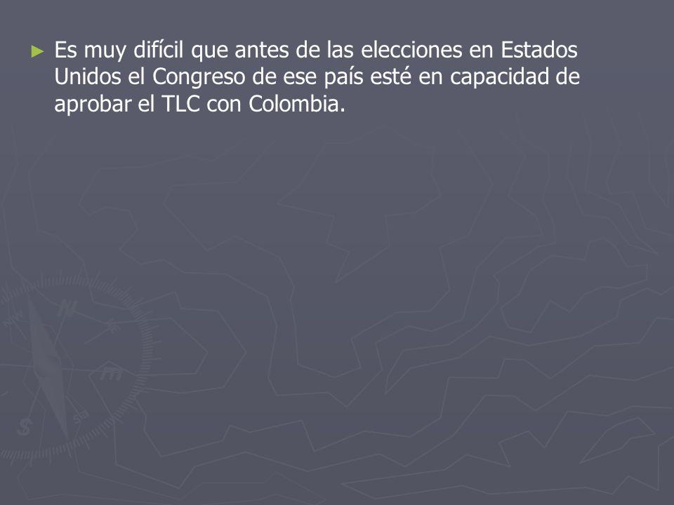 Es muy difícil que antes de las elecciones en Estados Unidos el Congreso de ese país esté en capacidad de aprobar el TLC con Colombia.