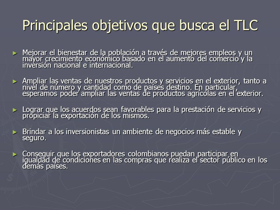 Principales objetivos que busca el TLC Mejorar el bienestar de la población a través de mejores empleos y un mayor crecimiento económico basado en el