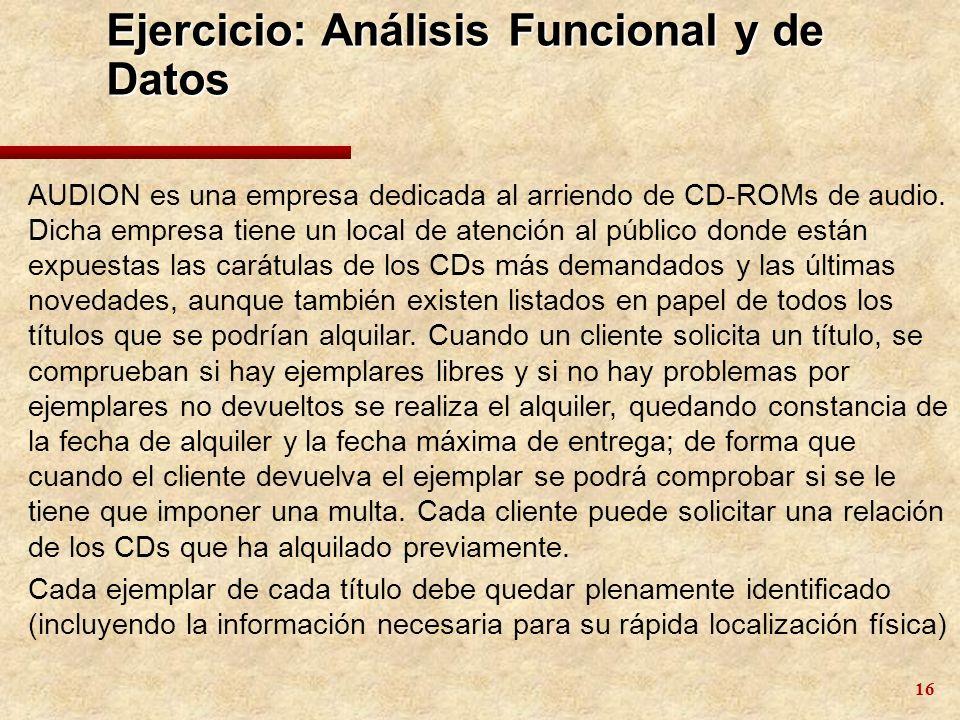 16 Ejercicio: Análisis Funcional y de Datos AUDION es una empresa dedicada al arriendo de CD-ROMs de audio. Dicha empresa tiene un local de atención a