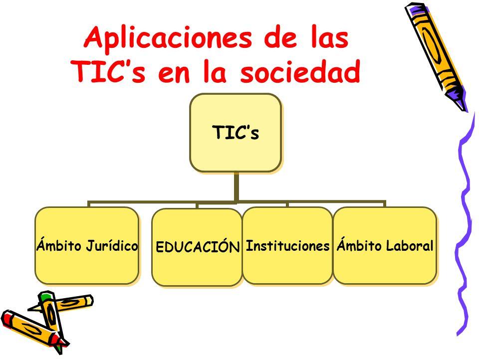 Aplicaciones de las TICs en la sociedad TICs Ámbito Jurídico EDUCACIÓNInstituciones Ámbito Laboral