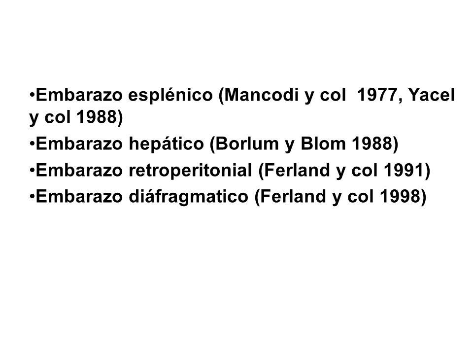 Embarazo esplénico (Mancodi y col 1977, Yacel y col 1988) Embarazo hepático (Borlum y Blom 1988) Embarazo retroperitonial (Ferland y col 1991) Embaraz