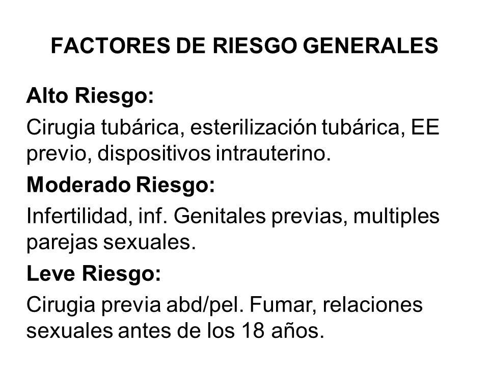 FACTORES DE RIESGO GENERALES Alto Riesgo: Cirugia tubárica, esterilización tubárica, EE previo, dispositivos intrauterino. Moderado Riesgo: Infertilid