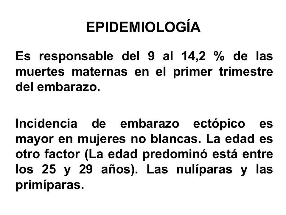 EPIDEMIOLOGÍA Es responsable del 9 al 14,2 % de las muertes maternas en el primer trimestre del embarazo. Incidencia de embarazo ectópico es mayor en