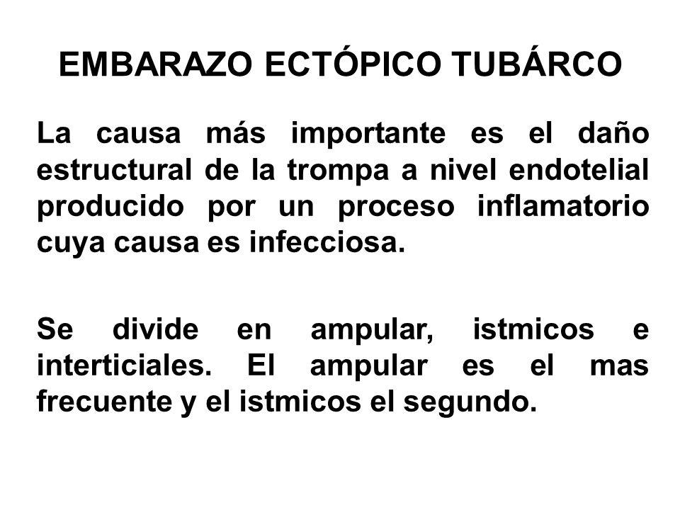 EMBARAZO ECTÓPICO TUBÁRCO La causa más importante es el daño estructural de la trompa a nivel endotelial producido por un proceso inflamatorio cuya ca