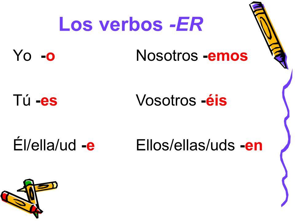 Los verbos -ER Yo -o Tú -es Él/ella/ud -e Nosotros -emos Vosotros -éis Ellos/ellas/uds -en