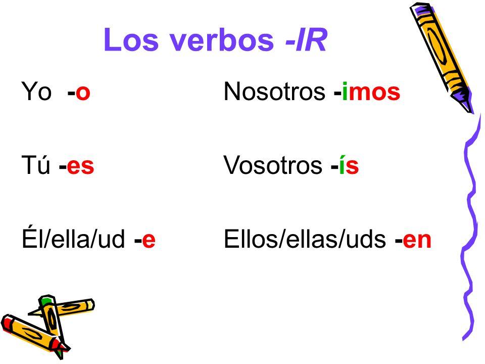 Los verbos -IR Yo -o Tú -es Él/ella/ud -e Nosotros -imos Vosotros -ís Ellos/ellas/uds -en