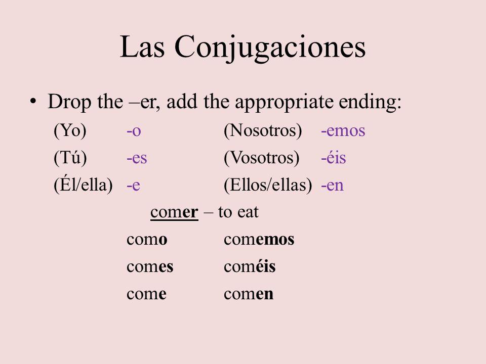 Las Conjugaciones Drop the –er, add the appropriate ending: (Yo)-o(Nosotros)-emos (Tú)-es(Vosotros)-éis (Él/ella)-e(Ellos/ellas)-en comer – to eat com