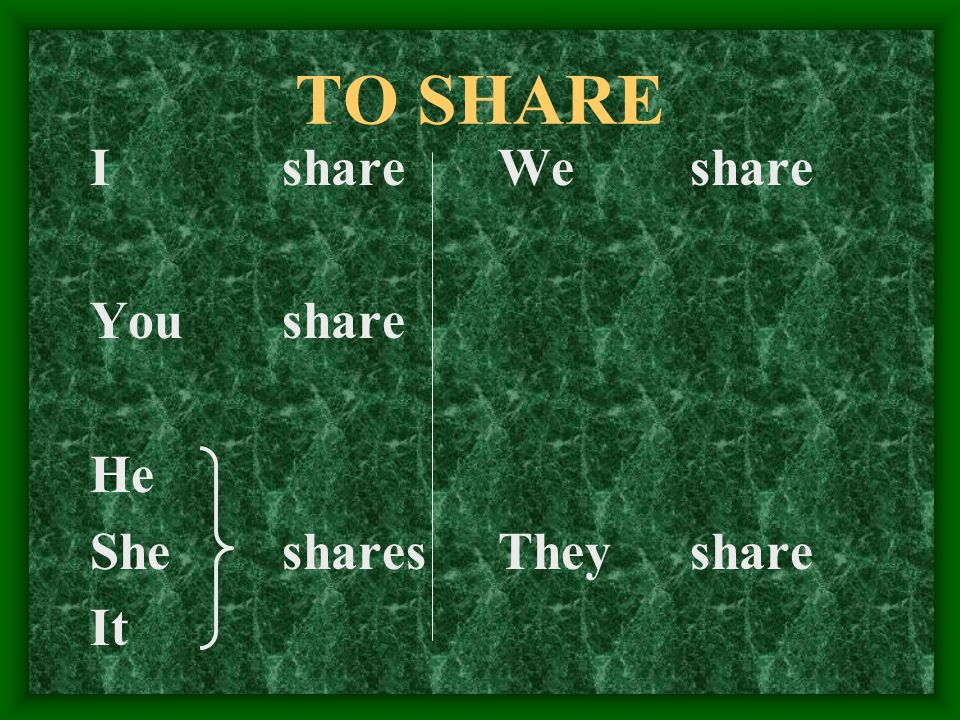 Lets try the verb to share, In Spanish, compartir.