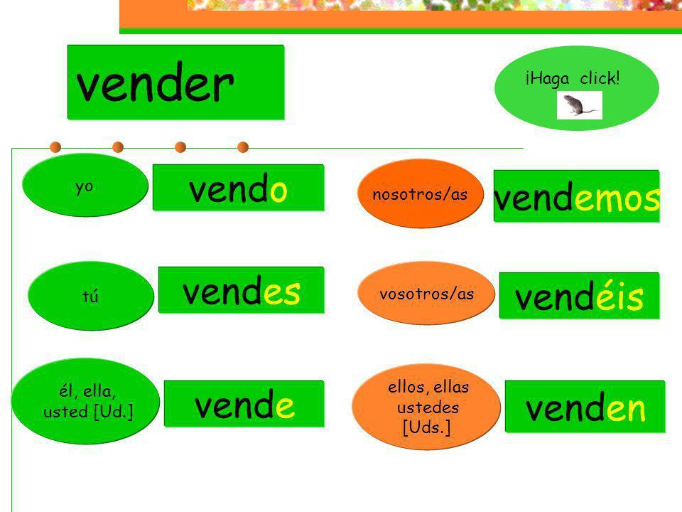 The endings for –er regular verb are: -o-emos -es -éis -en -e