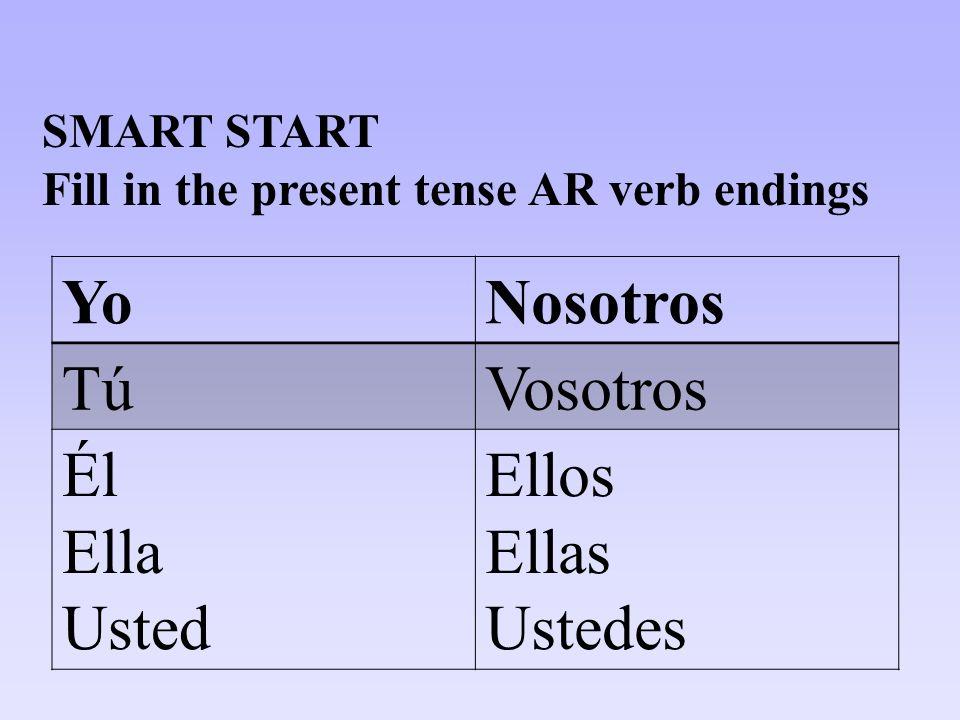 YoNosotros TúVosotros Él Ella Usted Ellos Ellas Ustedes SMART START Fill in the present tense AR verb endings