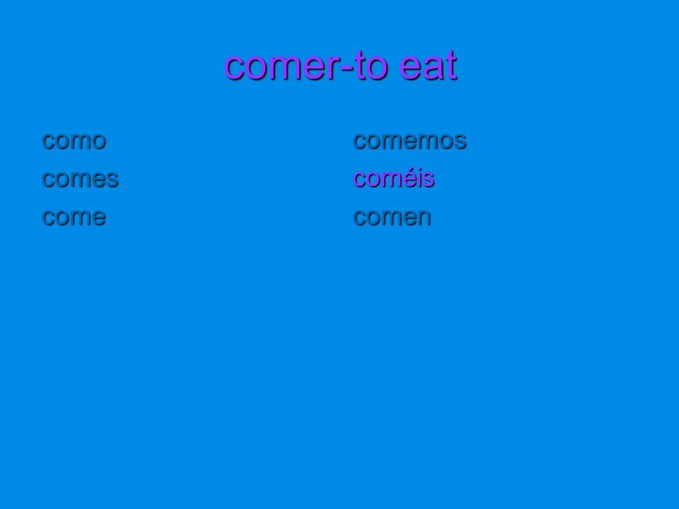 comer-to eat comocomescomecomemoscoméiscomen