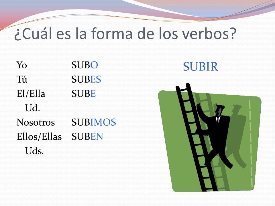 ¿Cuál es la forma de los verbos? YoSUBO TúSUBES El/EllaSUBE Ud. NosotrosSUBIMOS Ellos/EllasSUBEN Uds. SUBIR