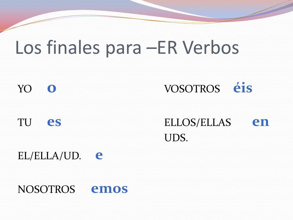 Los finales para –ER Verbos YO o VOSOTROS éis TU es ELLOS/ELLAS en UDS. EL/ELLA/UD. e NOSOTROS emos