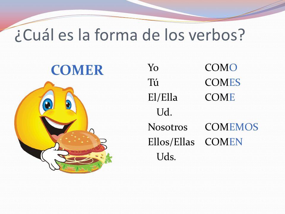 ¿Cuál es la forma de los verbos? COMER YoCOMO TúCOMES El/EllaCOME Ud. NosotrosCOMEMOS Ellos/EllasCOMEN Uds.